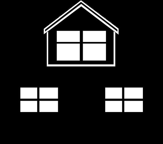 silueta domu, černá